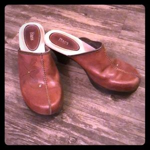 Bass Leather Clogs with floral detail